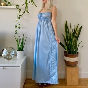 Vintage 70s icy blue lace cut out negligee S/M